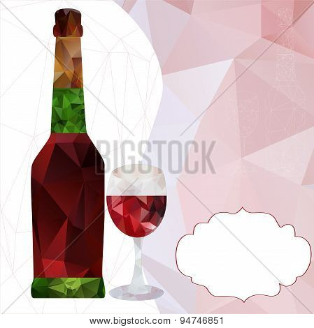 polygonal bottle and wine glass