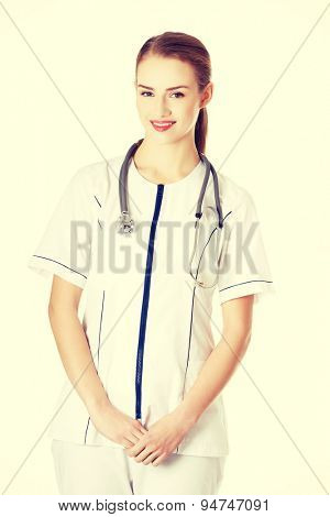 Female doctor in uniform wearing stethoscope