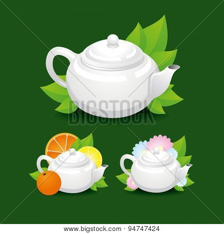 Flower, green and citrus tea with white teapot. Vector illustration for your design
