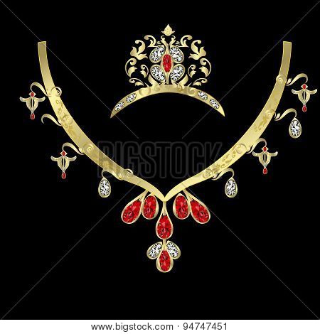 necklace with large stones and diamonds