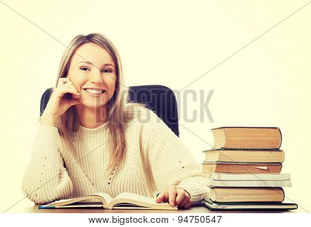 Caucasian woman happy because of studying