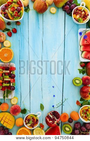 Fruits, Fruit salad - diet, healthy breakfast, frame with space for text
