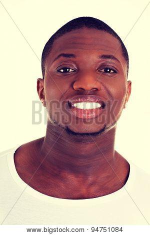 Handsome black man cheering friendly
