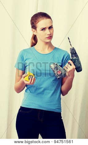 Young businesswoman making silent gesture
