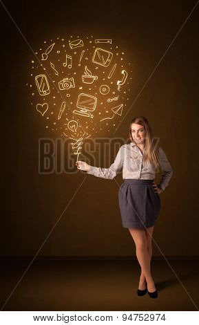 Businesswoman holding a social media shining balloon on a brown background