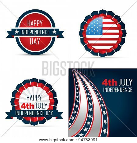 vector set of american independence day background of 4th july illustration