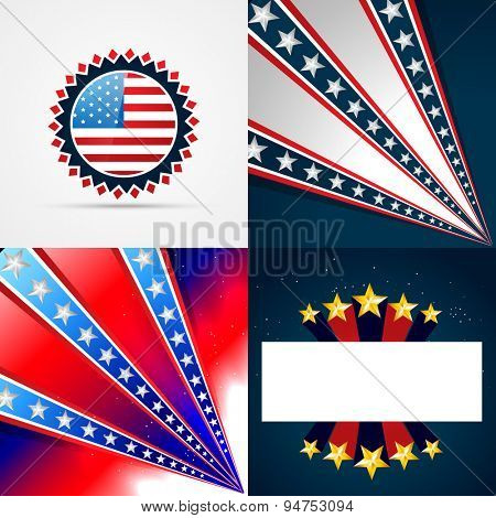 vector creative collection of american independence day background illustration with space for your text