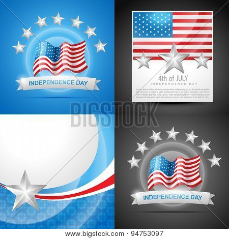 vector set of american independence day background illustration with american flags and banner