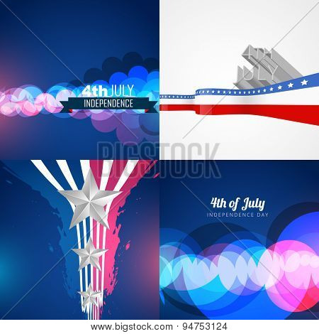 vector set of american independence day background illustration with bokeh effect and wave style