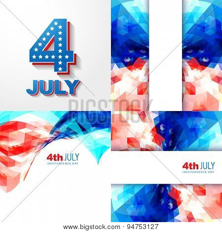 vector creative set of american independence day background illustration