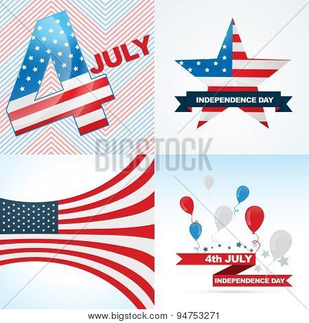 vector collection of american flag design of independence day with balloon, ribbon and stylish wave