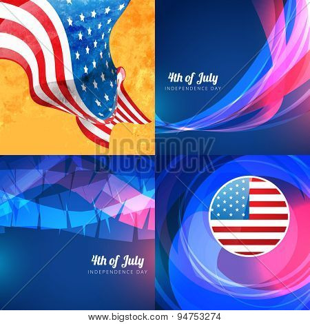 vector  set of american independence day background illustration with creaetive pattern