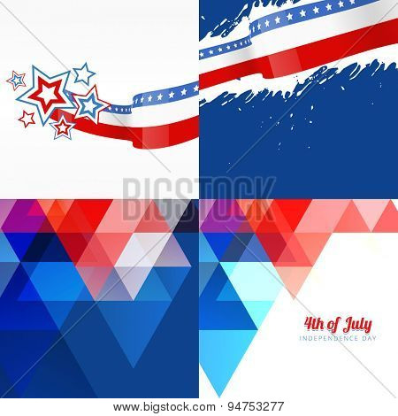 vector set of american flag design with different pattern style and wave