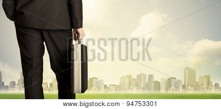 Businessman from the back in front of a city view with clouds and grass