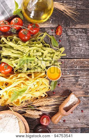 tagliatelle and ingredient