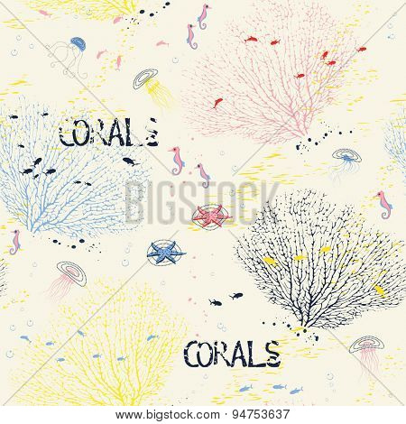 Seamless pattern with fan corals, jellyfish, sea horses and fish silhouettes
