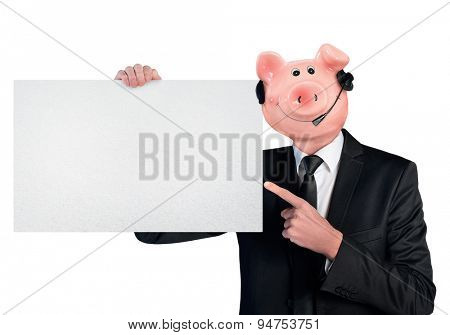 Isolated business man with piggy bank head holding empty banner