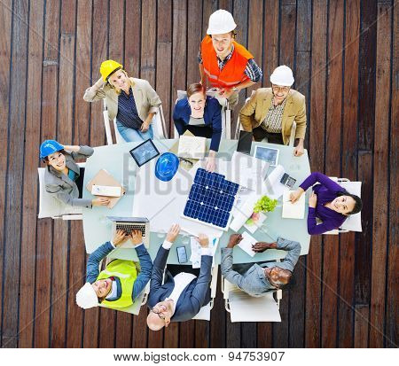 Architect Engineer Meeting Construction Design Concept