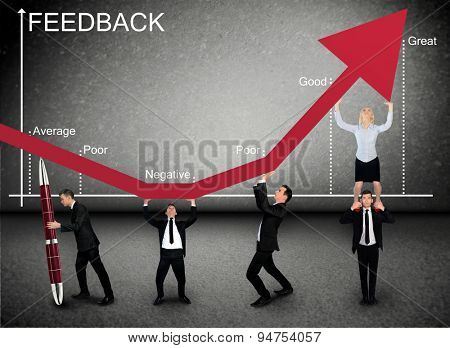 Business team push Feedback graphic arrow up