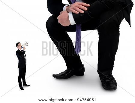 Isolated business man screaming on megaphone at boss