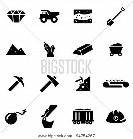 Vector black mining icon set