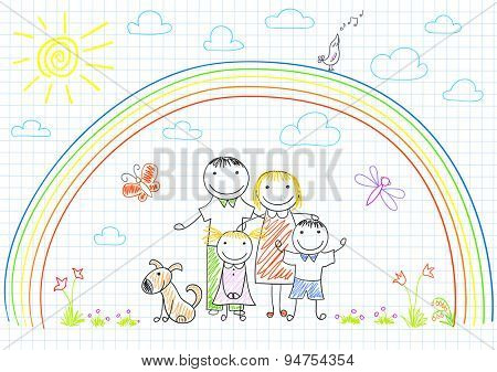 Happy family - mom, dad and two children. Sketch on notebook page