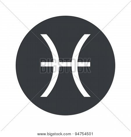 Monochrome round Pisces icon