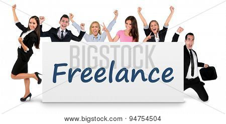Freelance word writing on banner