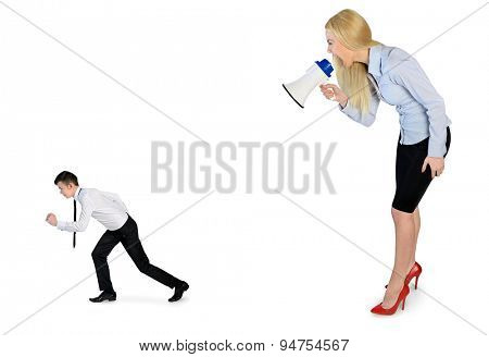 Business woman screaming on megaphone on little man