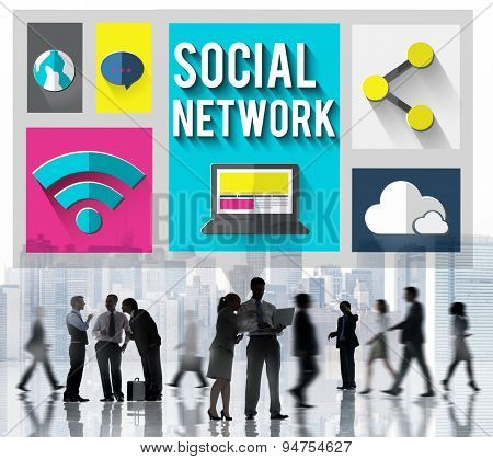 Social Network Global Communications Networking Concept