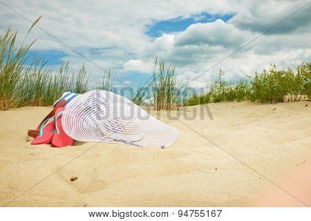 Beach scene,  summer accessories, Summer concept