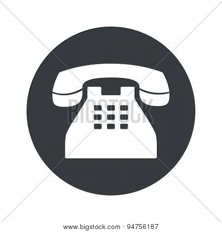Monochrome round phone icon
