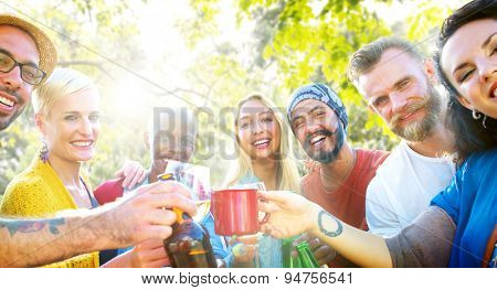 Friend Celebrate Party Picnic Joyful Lifestyle Drinking Concept