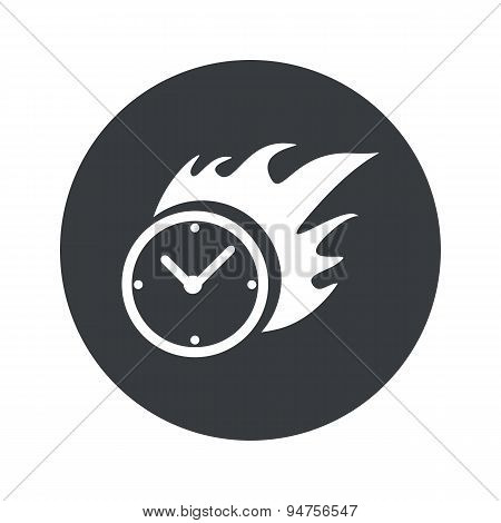 Monochrome round burning clock icon