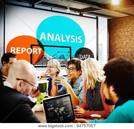 Business  Data Report Analysis Brainstorm Meeting People Concept