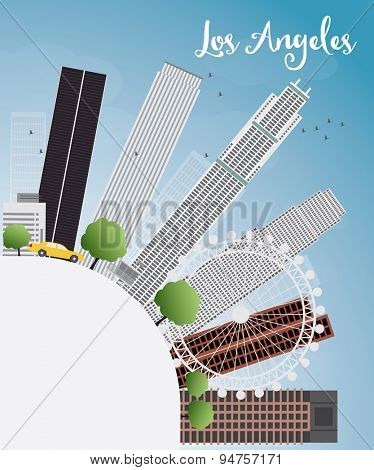 Los Angeles Skyline with Grey Buildings, Blue Sky and copy space. Vector Illustration