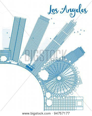 Outline Los Angeles Skyline with Blue Buildings and copy space. Vector Illustration