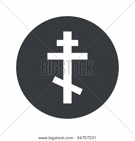 Monochrome round orthodox cross icon