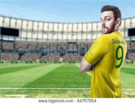 South African soccer player in the stadium