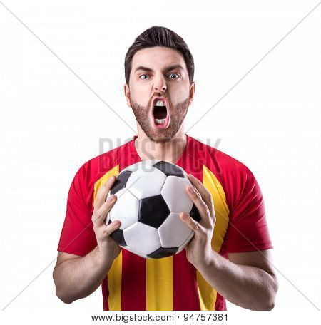 Fan on red and yellow uniform celebrates on white background