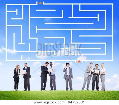 Maze Green Business Direction Plan Labyrinth Concept