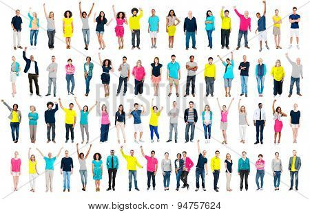 Multiethnic Casual People Togetherness Celebration Arms Raised Concept