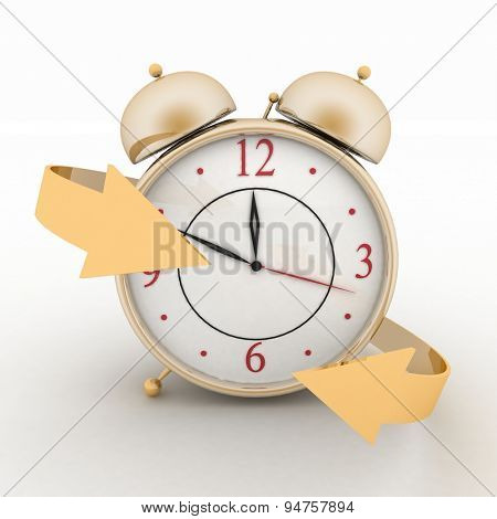 Alarm-clock with arrows. 3d isolated icon on white
