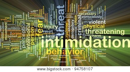 Background concept wordcloud illustration of intimidation glowing light