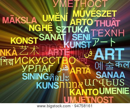 Background concept wordcloud multilanguage international many language illustration of art glowing light