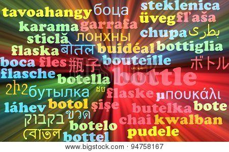 Background concept wordcloud multilanguage international many language illustration of bottle glowing light