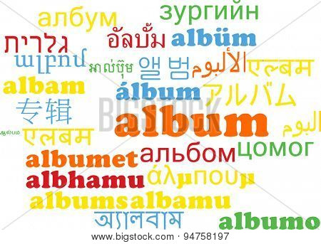 Background concept wordcloud multilanguage international many language illustration of album