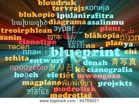 Background concept wordcloud multilanguage international many language illustration of blueprint glowing light