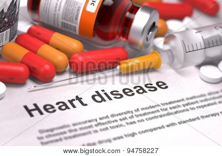 Heart Disease Diagnosis. Medical Concept. Composition of Medicam