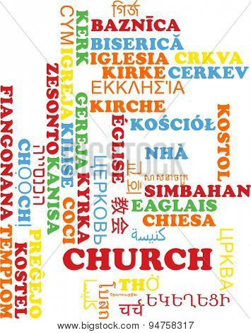 Background concept wordcloud multilanguage international many language illustration of church